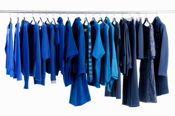 Variety of female blue clothing on hanging
