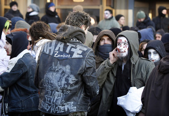 Left-wing protesters attend demonstration in Berlin
