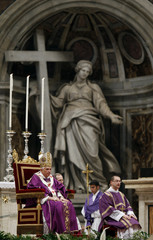 Pope Benedict XVI leads the mass in memory of John Paul II on the anniversary of his death at the Vatican