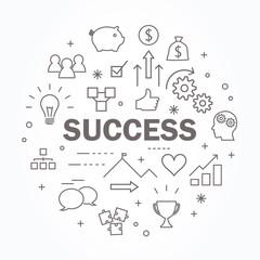 Success thin line icon set. Vector illustration.