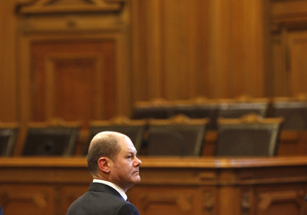 Designated new Hamburg mayor Scholz attends constitutive meeting at the town hall in Hamburg