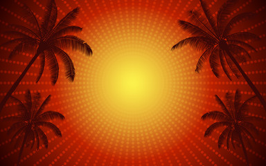 Abstract Silhouette palm tree in flat icon design and red color light ray with vintage filter background