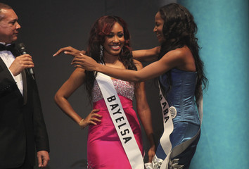 Nduka embraces the first runner-up Sophie after Nduka was announced as the winner of the 24th edition of the Most Beautiful Girl in Nigeria beauty pageant in Lagos