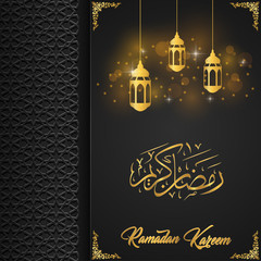 Ramadan kareem greeting card template with arabic lamp hanging
