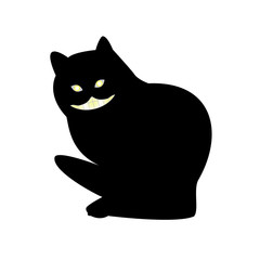 Vector illustration of a smiling and gnashing black cat, flat style