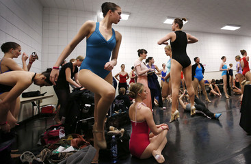 Dancers warm up before an open audition to join the world famous Rockettes in New York City