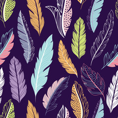 Wall Mural - Feathers seamless vector pattern