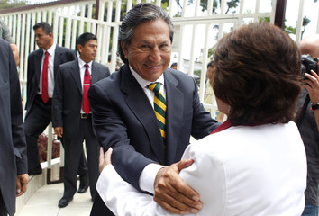Peru's former president and presidential candidate Toledo arrives to a meeting with the Peruvian Association of Professionals in Lima