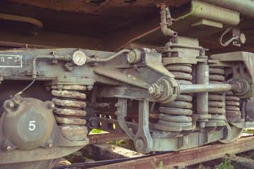 Close-up of an amusement park train.