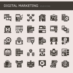 Digital marketing Elements  , Thin Line and Pixel Perfect Icons