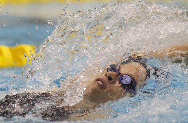 Caldwell swims during her women's 200m backstroke finals at the Canadian Olympic swimming trials in Montreal