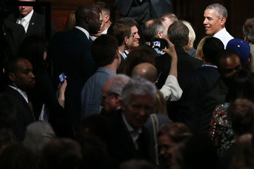 U.S. President Barrack Obama takes part in a Town Hall meeting at Lindley Hall in London