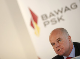 Austrian BAWAG P.S.K. bank CEO Haynes addresses a news conference in Vienna