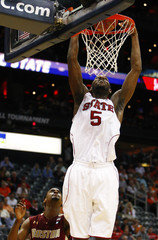 North Carolina State Wolfpack forward Leslie dunks the ball over Boston College Eagles during their ACC college basketball tournament game in Atlanta