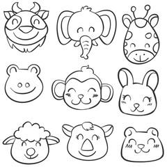 Vector art animal hand draw doodles