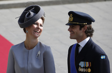 Sweden's Prince Carl Philip and Princess Martha Louise of Norway arrive at the religious wedding service of Luxembourg's Hereditary Grand Duke Guillaume and Countess Stephanie de Lannoy at the Cathedral Notre Dame in Luxembourg