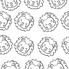 Doodle lion animal design collection