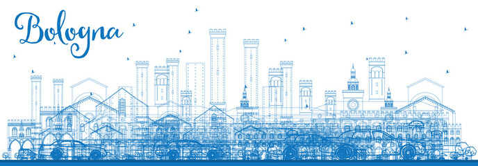 Outline Bologna Skyline with Blue Landmarks.