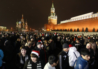 People gather during New Year celebrations in the Red Square in Moscow