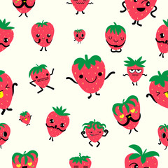 Cute strawberry character with arm and leg isolated on yellow background. Funny sweet berry face icon collection. Cartoon face food emoji. Strawberry emoticon.