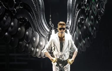 Canadian singer Justin Bieber performs during a concert at Palau Sant Jordi stadium in Barcelona