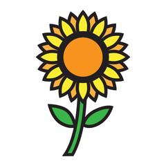 Flat color sun flower icon