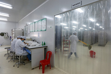 A lab technician cleans the floor of an area with trays containing mosquito larvae inside Sun Yat-Sen University-Michigan State University Joint Center of Vector Control for Tropical Disease in Guangzhou, China
