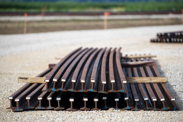 stacked curved railroad track