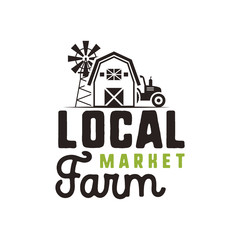 Local farm market logo design and label template. Included farmer symbols - tractor, barn, windmill. Black and green colors. Isolated on white background. Vector emblem