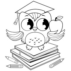 Owl on books with graduation hat. Black and white coloring book page.