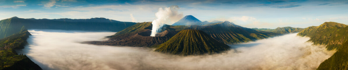 Mount Bromo volcano (Gunung Bromo) during sunrise from viewpoint on Mount Penanjakan.