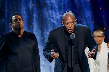 Dr. Dre of N.W.A. speaks onstage during the 31st annual Rock and Roll Hall of Fame Induction Ceremony at the Barclays Center in Brooklyn, New York