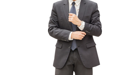 Handsome young executive businessman in suit on white background