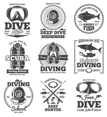 Underwater scuba diving club vector vintage emblems and labels