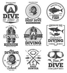 Underwater scuba diving club vector vintage emblems and labels