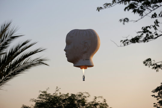 A hot air balloon floats during a two-day international hot air balloon festival in Eshkol Park near the southern city of Netivot