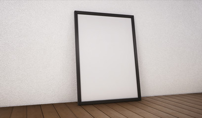 Poster with black frame mockup standing on the floor. 3d rendering