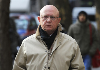 Peter Hill, former editor of the Daily Express arrives at the Leveson Inquiry at the High Court in London