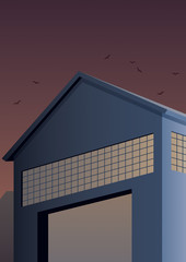 Warehouse / Cartoon warehouse building in Art Deco style.