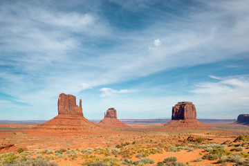 Blue sky over Monument Valley, Arizona.
