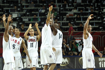 USA players react after they defeated Russia in their FIBA Basketball World Championship game in Istanbul
