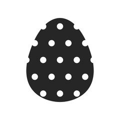 Easter egg, black and white flat icon for holiday isolated on white background. Vector illustration for design
