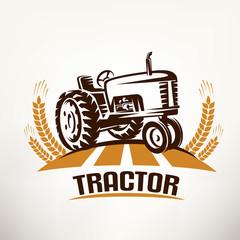 retro tractor vector symbol