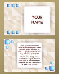 Visiting card with gemstone. Cutaway beige and blue color.