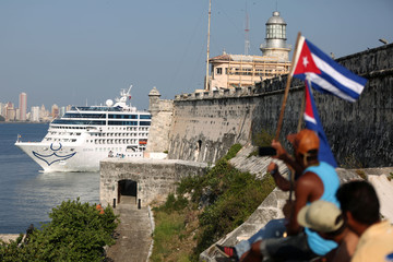 U.S. Carnival cruise ship Adonia arrives at the Havana bay, the first cruise liner to sail between the United States and Cuba since Cuba's 1959 revolution