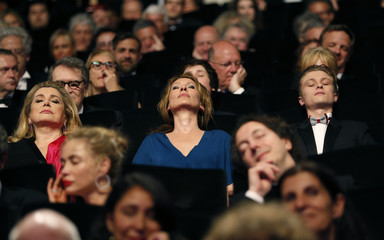 """Actress Catherine Deneuve, director Emmanuelle Bercot, actor Rod Paradot, cast members of the film """"La tete haute"""" out of competition, attend the opening ceremony of the 68th Cannes Film Festival in Cannes"""
