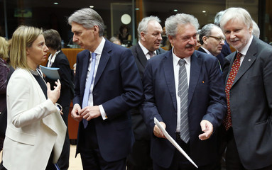 EU foreign policy chief Mogherini, Britain's Foreign Secretary Hammond, Luxembourg's Foreign Minister Asselborn and Finland's Foreign Minister Erkki Tuomioja attend an European Union foreign ministers meeting in Brussels