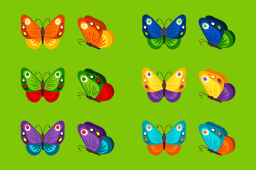 Colorful butterflies icons