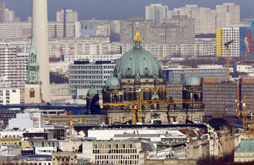A general view shows the city skyline with the Berlin cathedral (C) in Berlin