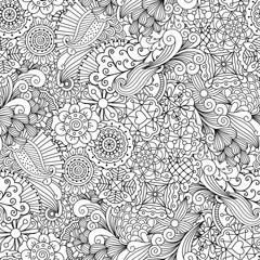 Flowers and swirls etnic decorative pattern